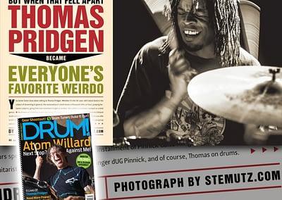 Publishing of a THOMAS PRIDGEN Picture in DRUM! Magazine 3-2014