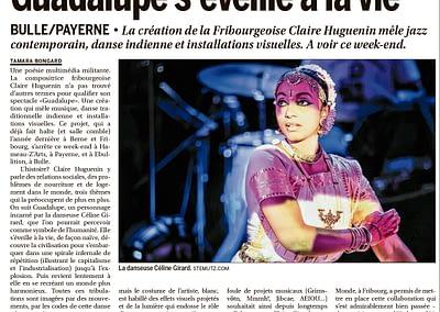 Publication d'image de Guadalupe (Céline Girard) dans La Liberté, 08.01.2015